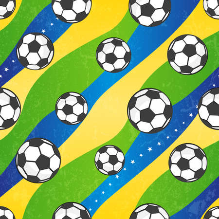 Seamless football pattern against the colors of the Brazilian flag. Vector background EPS 10. Grunge effect can be removed.