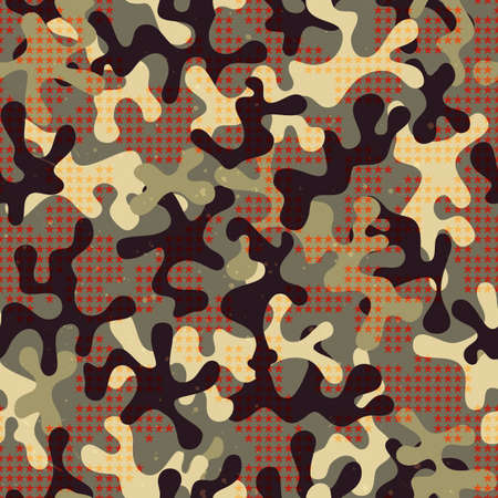dazzle: Camouflage seamless print with star shapes. Abstract fabric pattern.