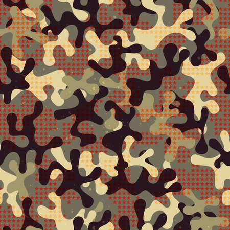 war paint: Estampado de camuflaje sin fisuras con formas de estrellas. Patr�n de la tela de fondo. Vectores