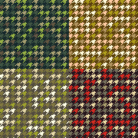 camoflage: Set of houndstooth camouflage  prints. Seamless fabric patterns in military colors.