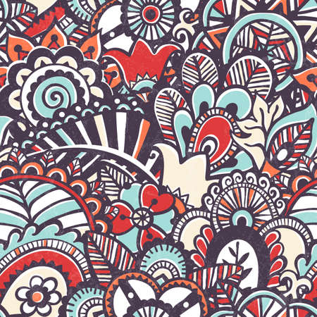Doodle seamless print. Floral background.  photo