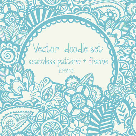 Vector set of design elements: seamless hand-drawn floral pattern and frame. Vector