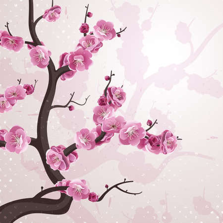 Cherry flowers. Card with spring blossom. All flowers are available under the clipping mask. Vector