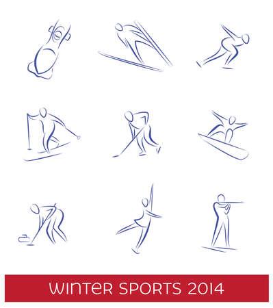 Winter sports icon set.  Vector