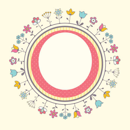 Baby shower card template with floral frame.  Vector