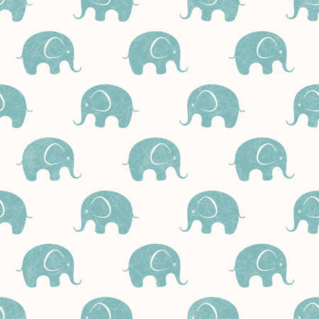 Seamless background with cute little elephants. EPS 10 vector pattern. Vector