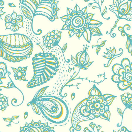 Hand-drawn floral seamless pattern. EPS 10 vector illustration. Vector