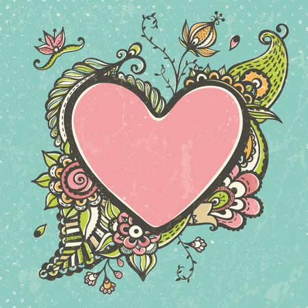 Floral doodle frame in the shape of heart Vector