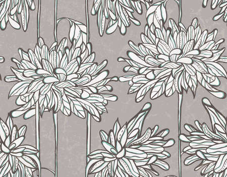 Seamless floral pattern with chrysanthemum. Vector