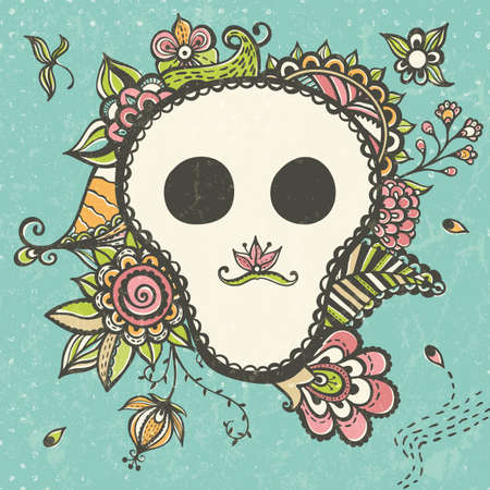 Floral doodle background with funny skull. EPS 10 vector illustration. Vector