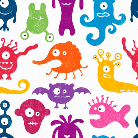 pattern monster: Seamless pattern with funny monsters.