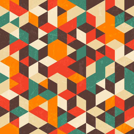 Retro geometric pattern with grunge texture.  일러스트