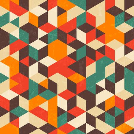Retro geometric pattern with grunge texture.  Vettoriali
