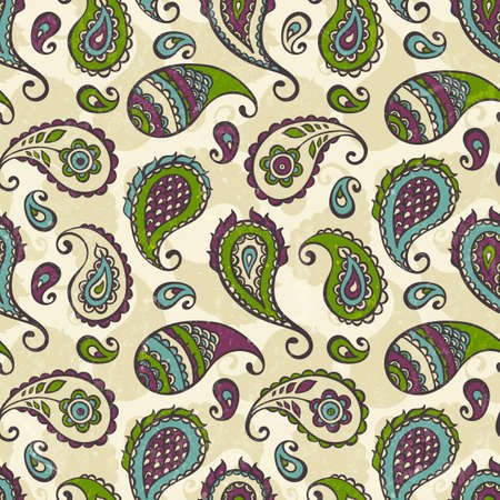 Paisley hand-drawn ornament  Colorful seamless pattern with grunge texture  EPS 10 vector illustration  Vector
