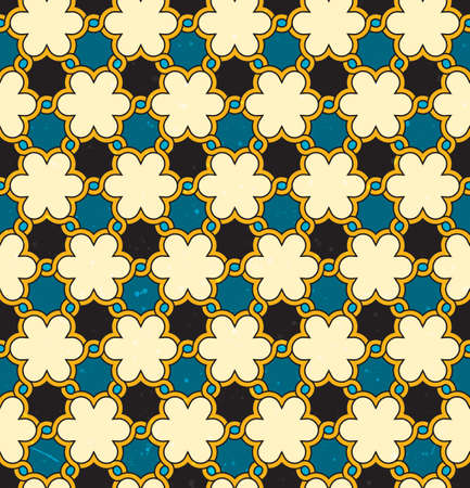 persian art: Seamless moroccan background with grunge texture.  Illustration