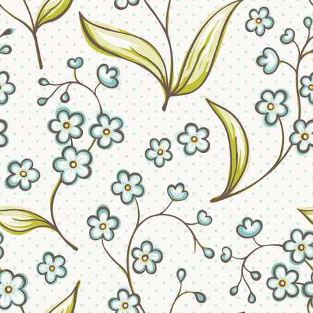 bedclothes: Beautiful seamless pattern with Forget-me not flowers   Illustration