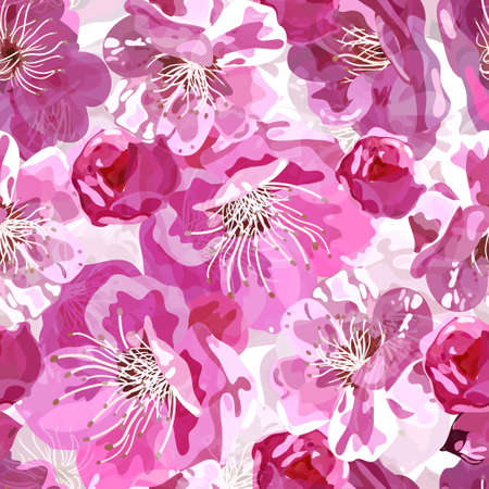 bedclothes: Seamless pattern whith pink sakura flowers.