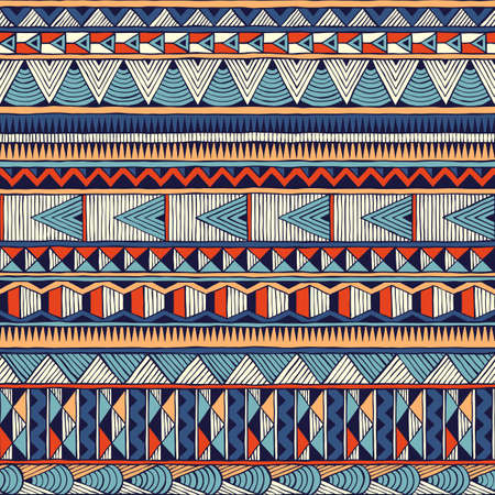 Tribal vector pattern. Seamless hand-drawn background. EPS 10. Vector