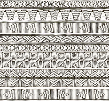 Seamless tribal pattern. Hand-drawn background. EPS 8 vector illustration. Vector