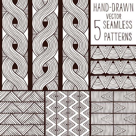 Set von nahtlosen ethnischen Mustern. Handgezeichnete Hintergrund. EPS 8 Vektor-Illustration.