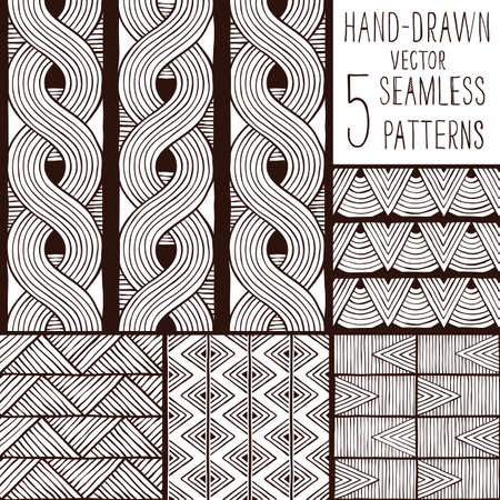 colection: Set of seamless ethnic patterns. Hand-drawn background. EPS 8 vector illustration.