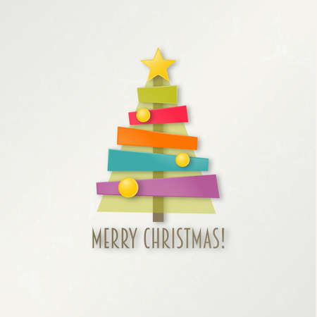 Abstract colorful Christmas tree. Greeting card. EPS 10 vector illustration. Vector