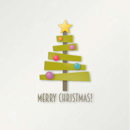 Abstract green Christmas tree with star and balls. Greeting card. EPS 10 vector illustration. Vector