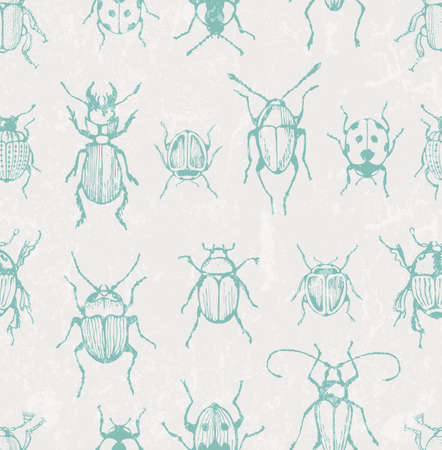 Seamless print with bugs. EPS 10 vector illustration.