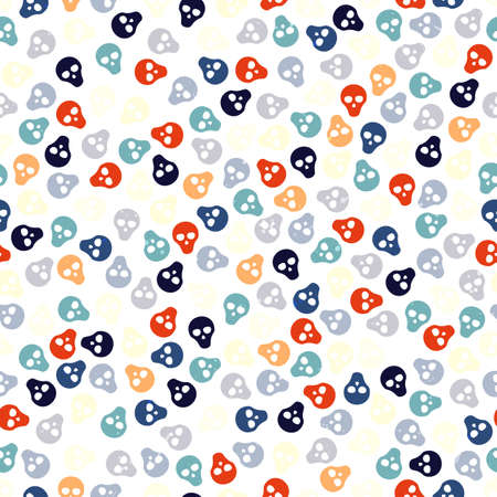 Seamless pattern with colorful skulls. Vector