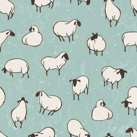 Herd of sheep. Seamless vector pattern