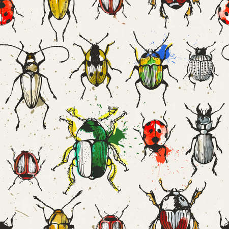 stag beetle: Seamless pattern with watercolor beetles.vector illustration. Illustration