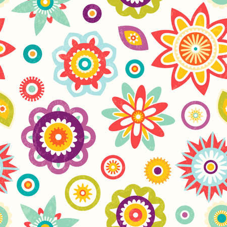 bedclothes: Colorful seamless floral pattern.