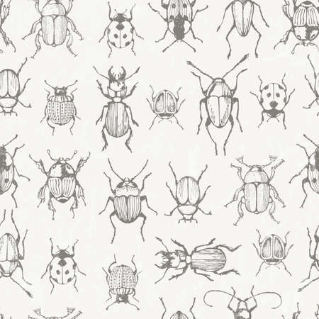Seamless monochrome pattern with bugs. EPS 10 vector. Vector