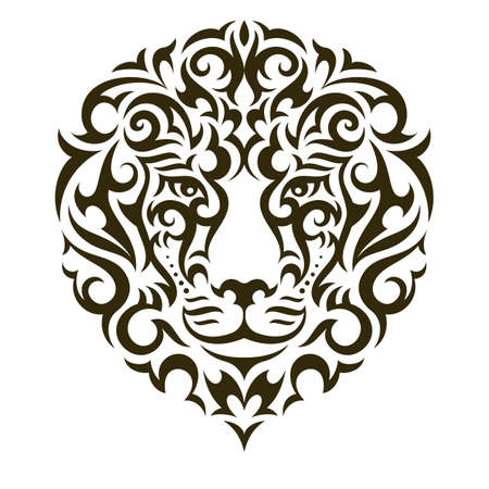 front of: Lion tattoo illustration isolated on white background. EPS 10 vector.