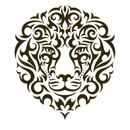 Lion tattoo illustration isolated on white background. EPS 10 vector.