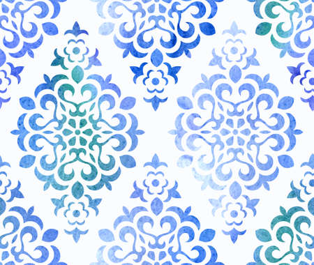 Watercolor seamless floral ornament. Vector EPS 10 background.