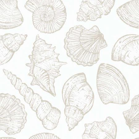 Seamless pattern with hand drawn sea shells. Vettoriali