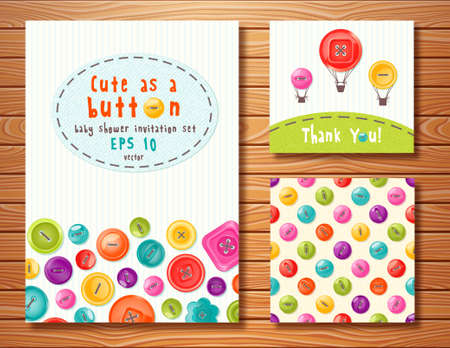 Vector set with cute buttons. Perfect for baby shower, birthday and other events. Vector
