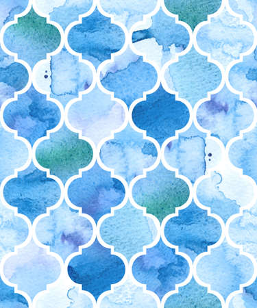 Watercolour moroccan background. Seamless vector pattern.