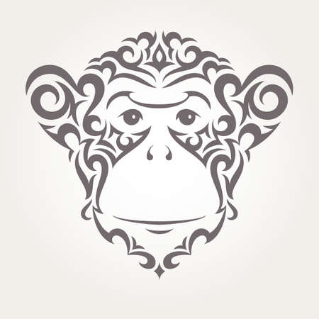 greeting people: Illustration of monkey in tribal style. EPS10 vector.