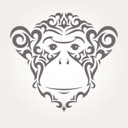 personas saludandose: Ilustraci�n de mono en el estilo tribal. Vector EPS10.