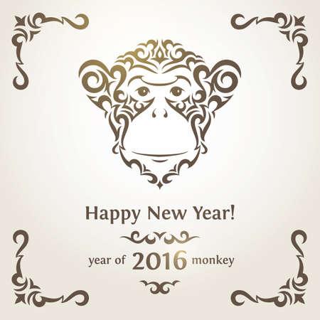 new Year: Biglietto di auguri con scimmia - simbolo del nuovo anno 2016.