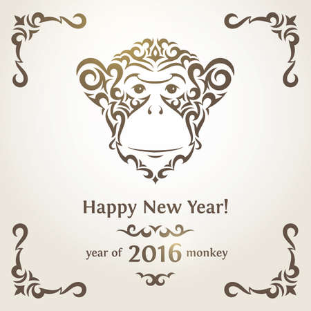 chimpanzee: Greeting card with monkey - symbol of the New Year 2016.  Illustration