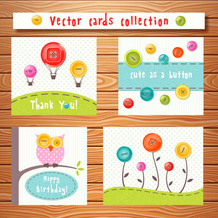 sewing pattern: Vector cards collection with cute colorful buttons on wooden background. Perfect for baby shower, birthday and other events.