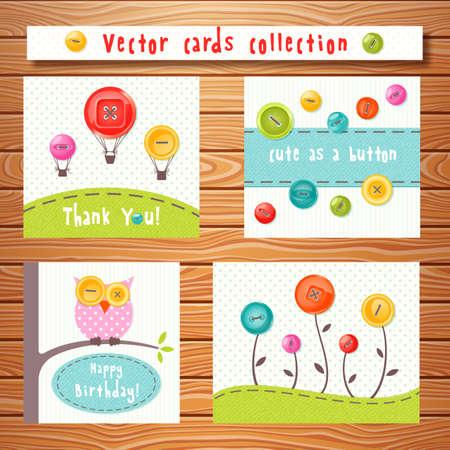 monas: Vector tarjetas de colección con botones lindos colores sobre fondo de madera. Perfecto para el bebé ducha, cumpleaños y otros eventos.
