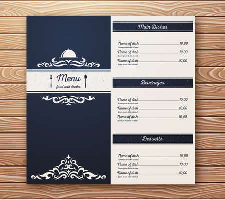 Restaurant or cafe menu template retro style on wooden background. EPS10 vector illustration.