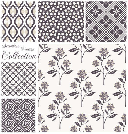 seamless floral: patterns collection Seamless floral backgrounds.  Illustration