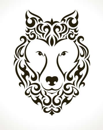 Wolf tattoo illustratie op een witte achtergrond. EPS 10 vector.