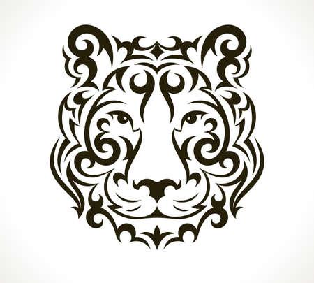 negras africanas: Ilustración del tatuaje del tigre aislado en fondo blanco. 10 EPS vector.