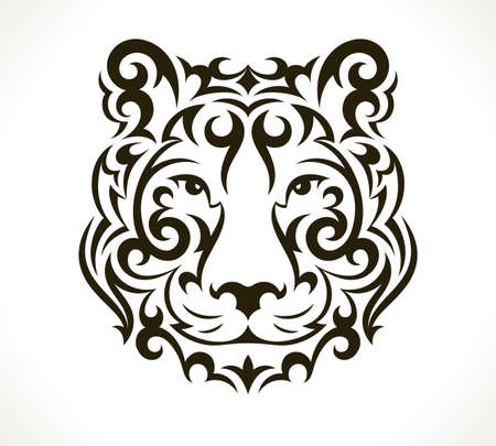 Tiger tattoo illustration isolated on white background. EPS 10 vector.